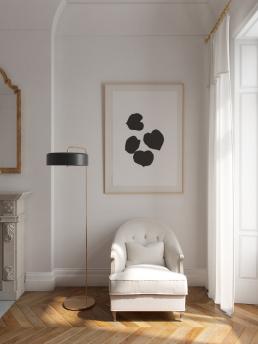 3d Визуализация интерьера гостиной с большими окнами