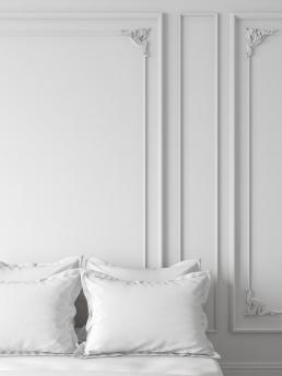 3d Визуализация интерьера спальной комнаты в светлых тонах
