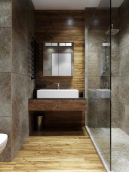 3d визуализация интерьера темной ванной комнаты