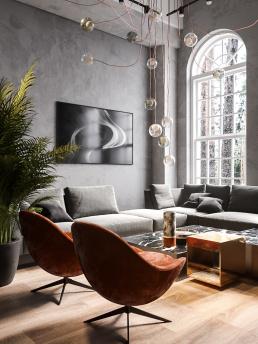 Визуализация интерьера гостиной комнаты в загородном доме