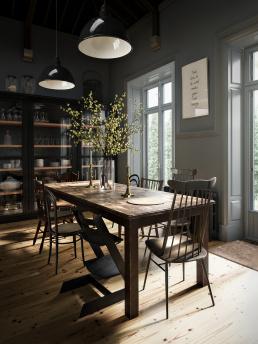 3d визуализация интерьера кухни в загородном доме
