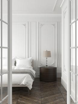 Визуализация интерьера белой спальни